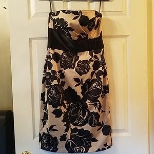 WHBM tan and black satin strapless dress